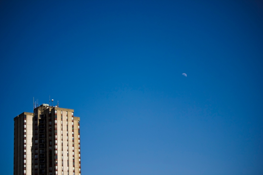 Highrise and Moon