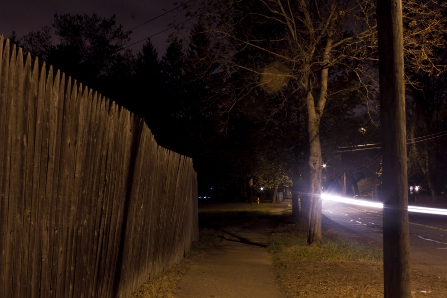 Fence and Street at Night